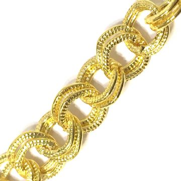 1 meter x 8mm gold plated round double link chain - 6523042